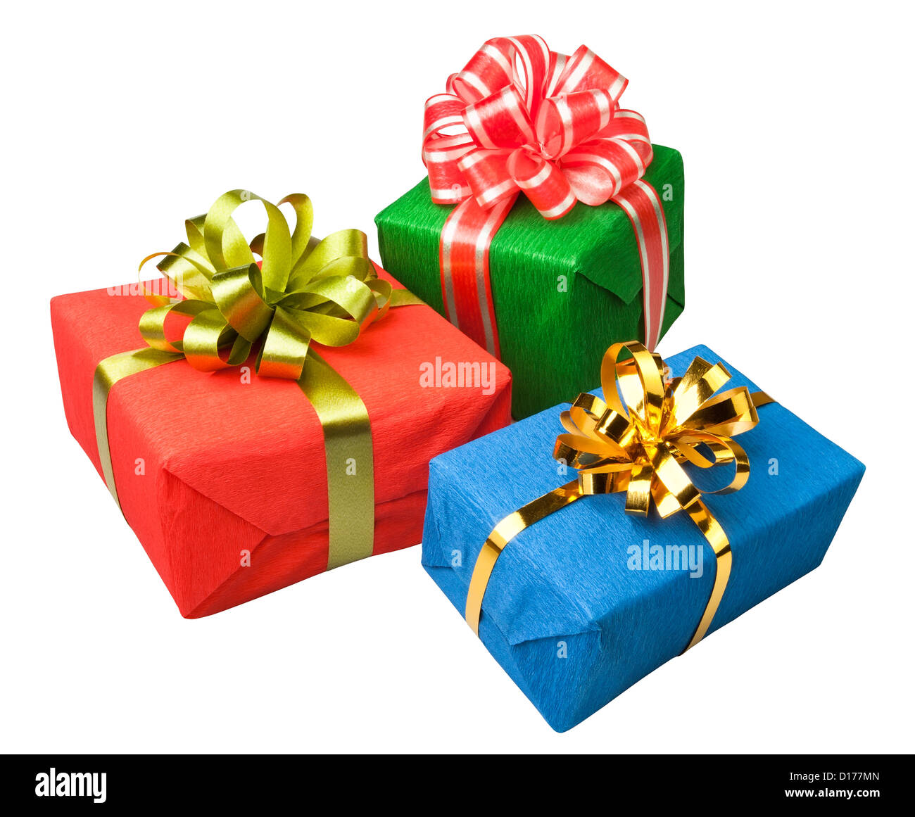 gifts boxes presents colorful on white background - Stock Image