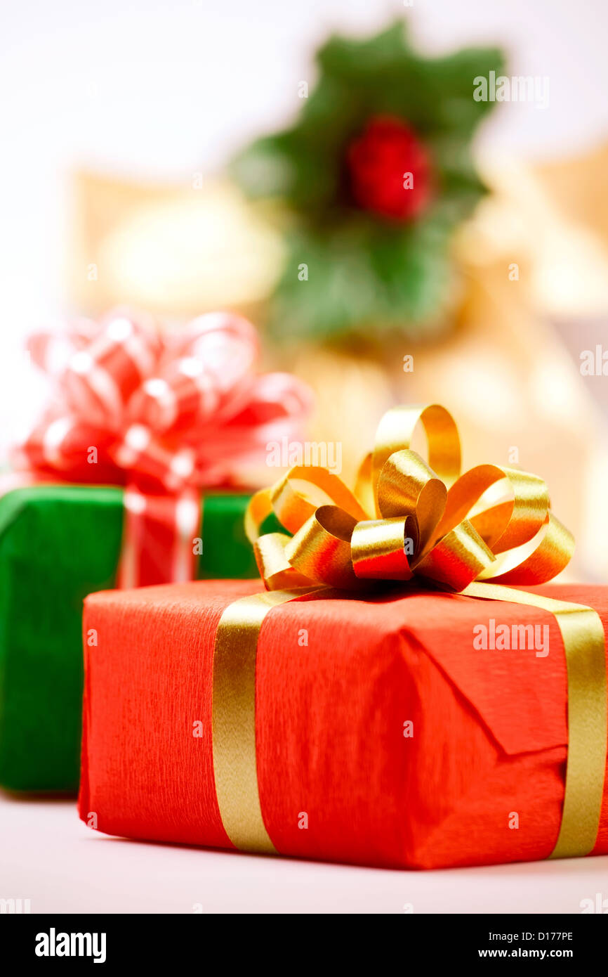 gift box present red closeup - Stock Image
