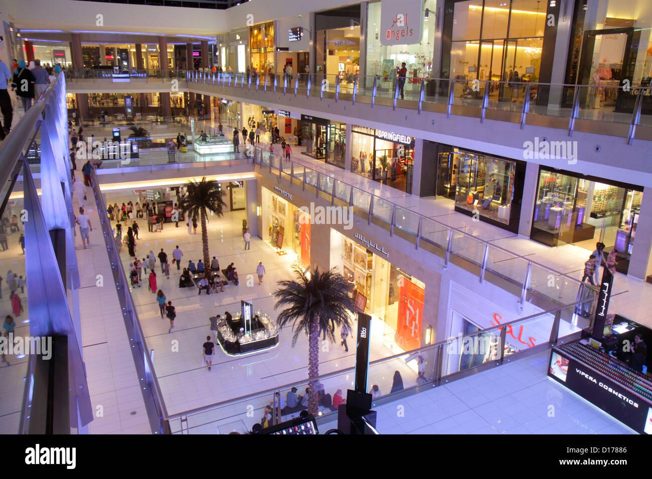 Dubai UAE United Arab Emirates U.A.E. Middle East Downtown Dubai Burj Dubai Dubai Mall shopping store levels Angels - Stock Image