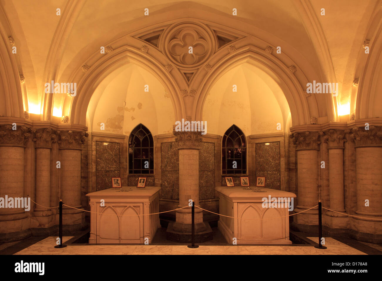 The graves of King Albert I and spouse & King Leopold III & spouses at the Royal Crypt in Laeken, Belgium - Stock Image