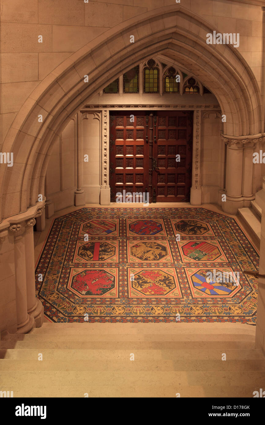 The side entrance to the Royal Crypt in Laeken, Belgium with the coats of arms of all 9 Belgian provinces - Stock Image