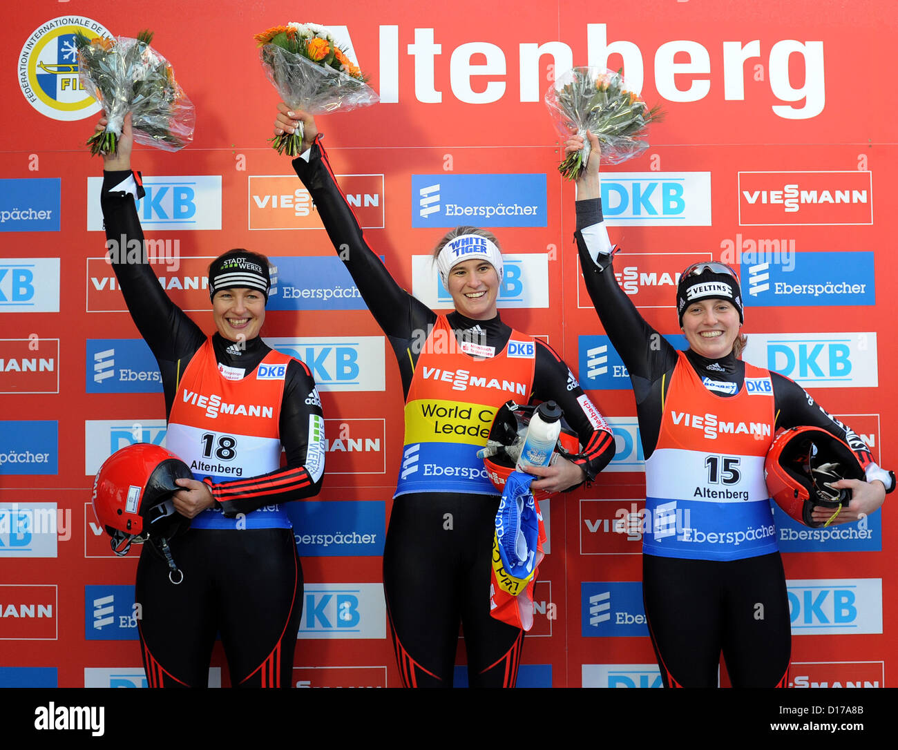 German lugers Anke Wischnewski (2nd place, L-R), Natalie Geisenberger (1st place) and Corinna Martini (3rd place) - Stock Image