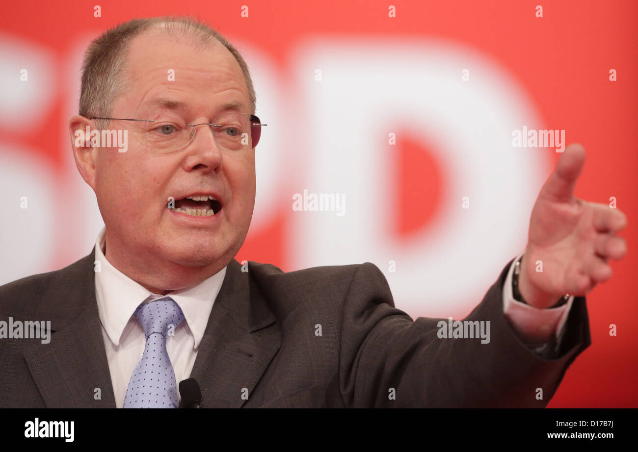 Peer Steinbrueck, SPDchancellor candidate, speaks at the special federal party conference of the German party - Stock Image