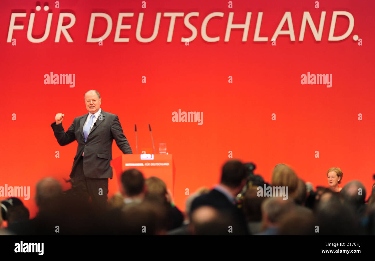Peer Steinbrueck, SPDchancellor candidate, stands on the podium at the special federal party conference of - Stock Image
