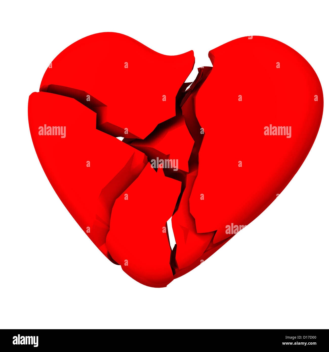 Red Broken Heart 3d Image Symbol Of Divorce And Sad Love Stock