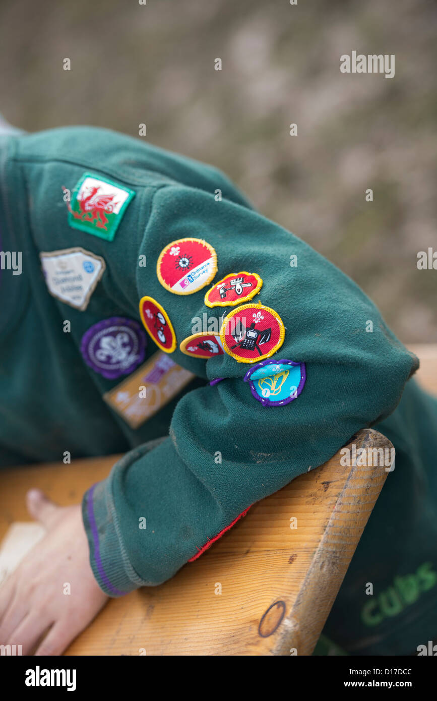 Various merit badges on the uniform of a Scout at a camp in Ceredigion, West Wales, UK - Stock Image