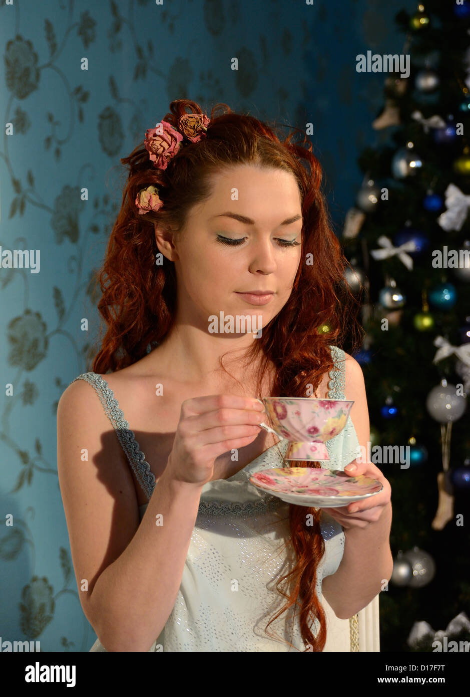 tea party on Christmas Eve - Stock Image