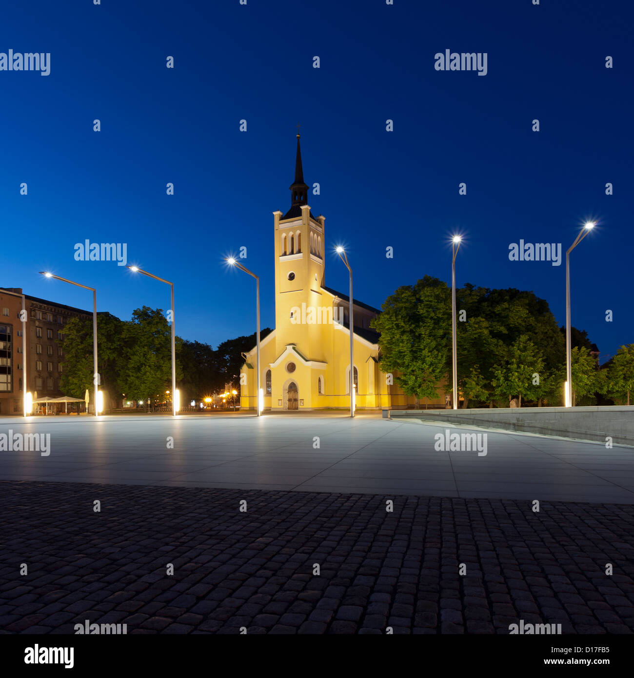 Church overlooking town square - Stock Image