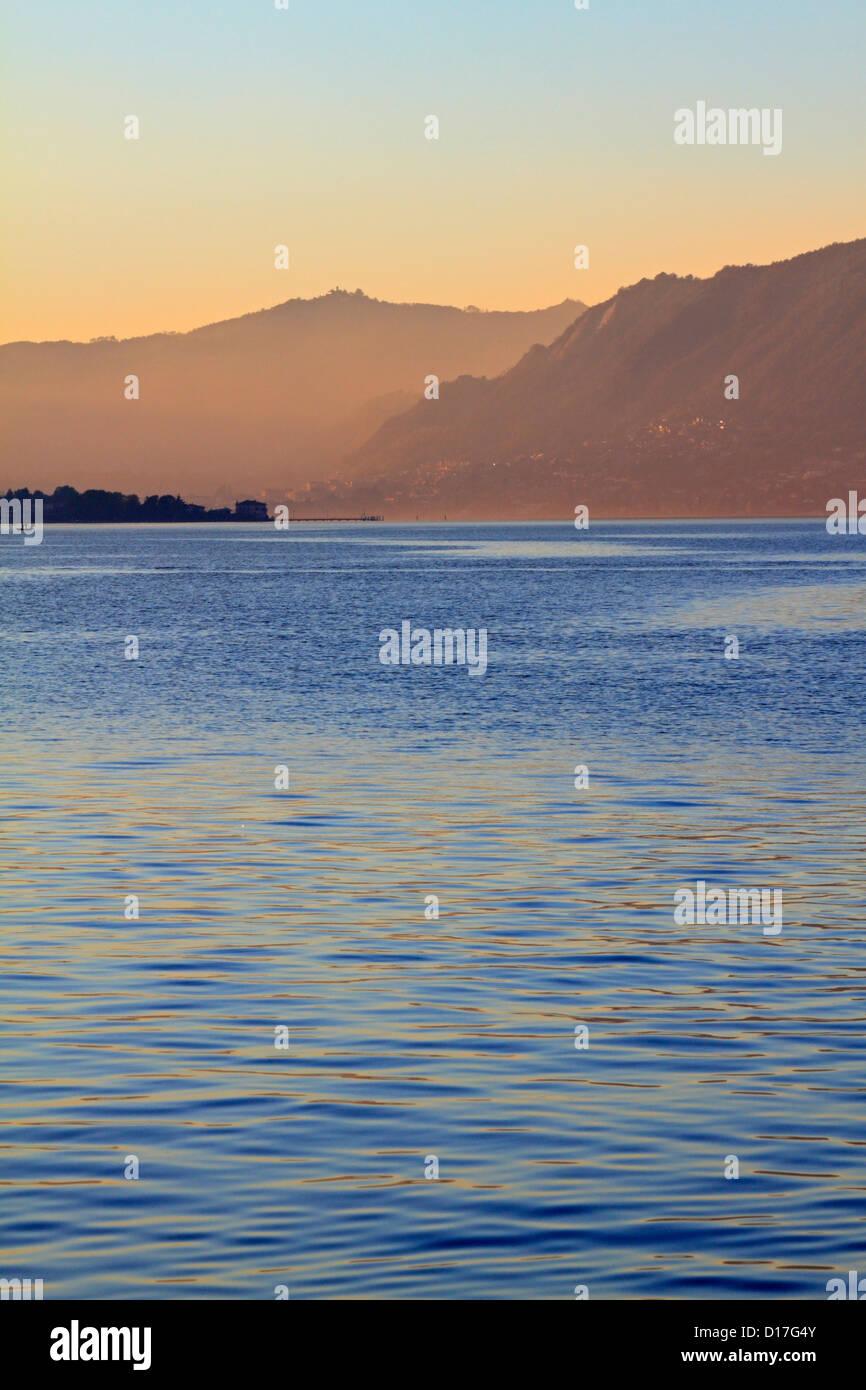Lake Iseo early evening, Iseo near Bergamo, Lombardy, Italy, Europe. - Stock Image