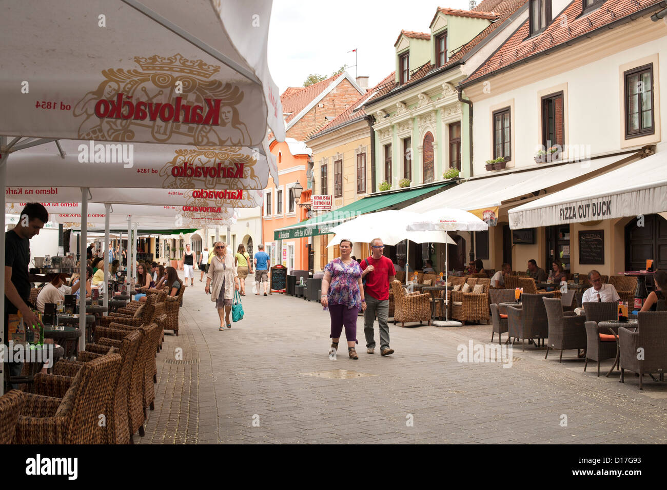 Cafes on Tkalciceva street in Zagreb, the capital of Croatia. Stock Photo