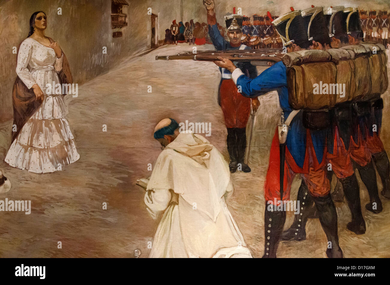 Shooting of María Parado de Bellido 1761-1822 Heroin by Peruvian independence - Stock Image