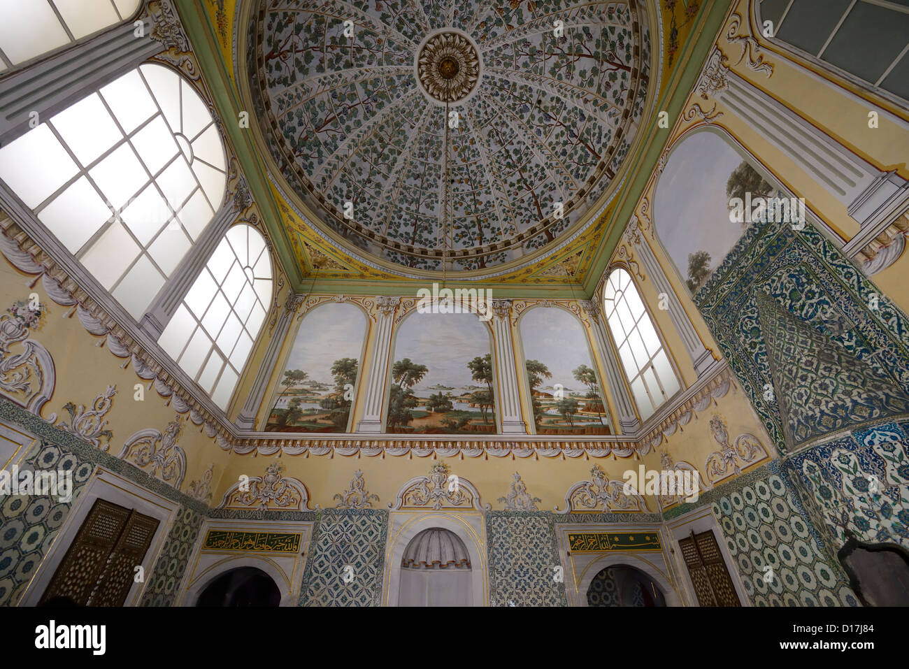 Reception Hall of the Dowager Sultan apartments of the Queen Mother Topkapi Palace Istanbul Turkey - Stock Image