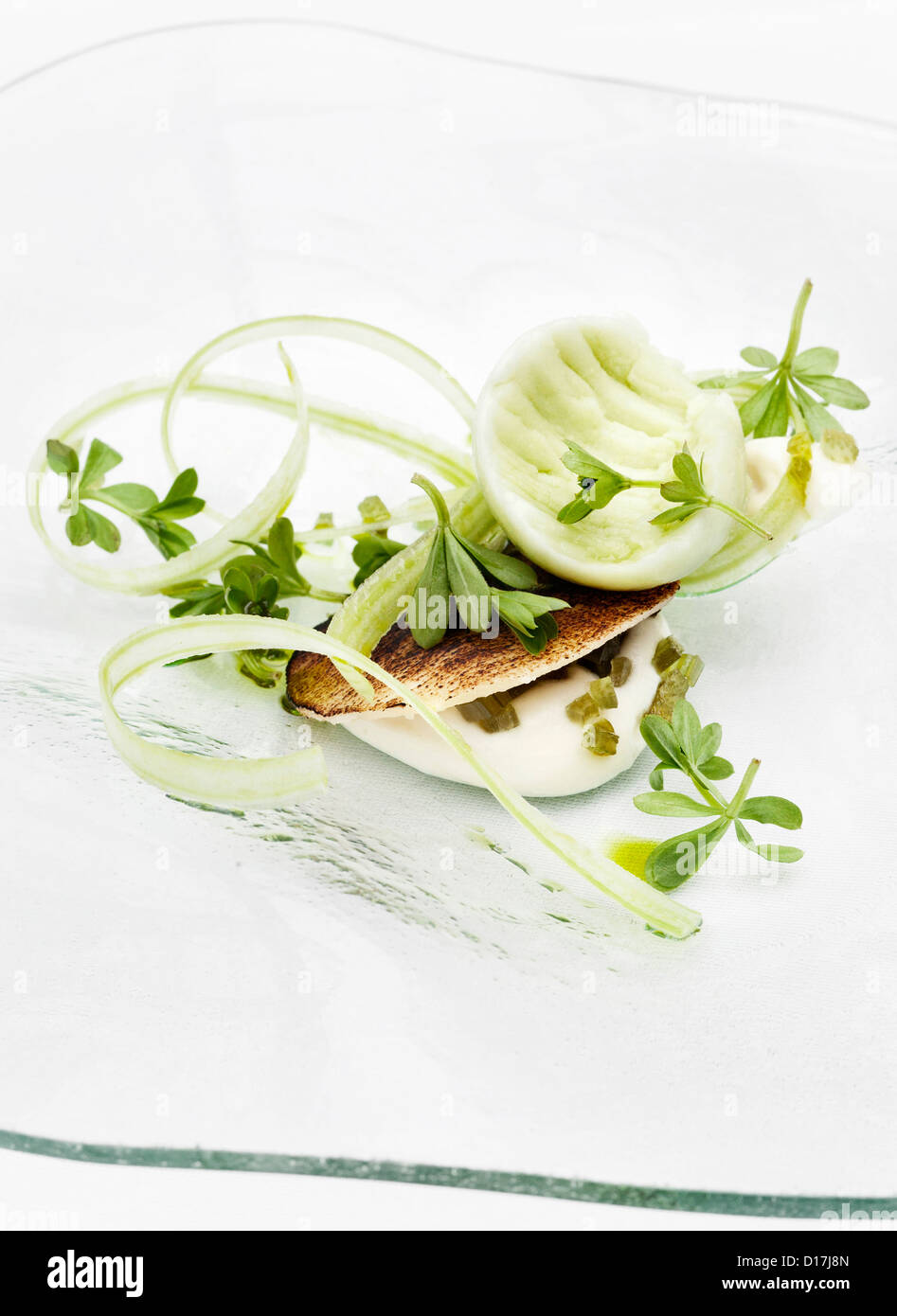 Plate of fish with herbs - Stock Image