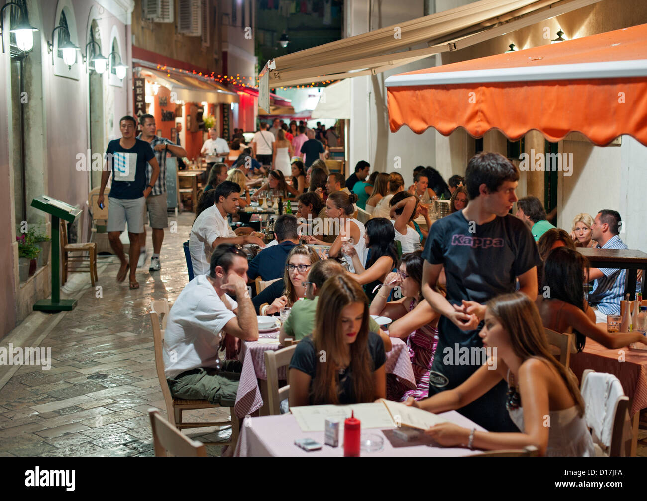 Crowded cafes in the old town in Zadar on the Adriatic coast of Croatia. - Stock Image