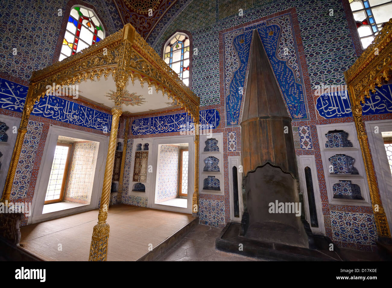 Privy Chamber of Sultan Murat III with beds and fireplace in the Topkapi Palace Harem Istanbul Turkey - Stock Image