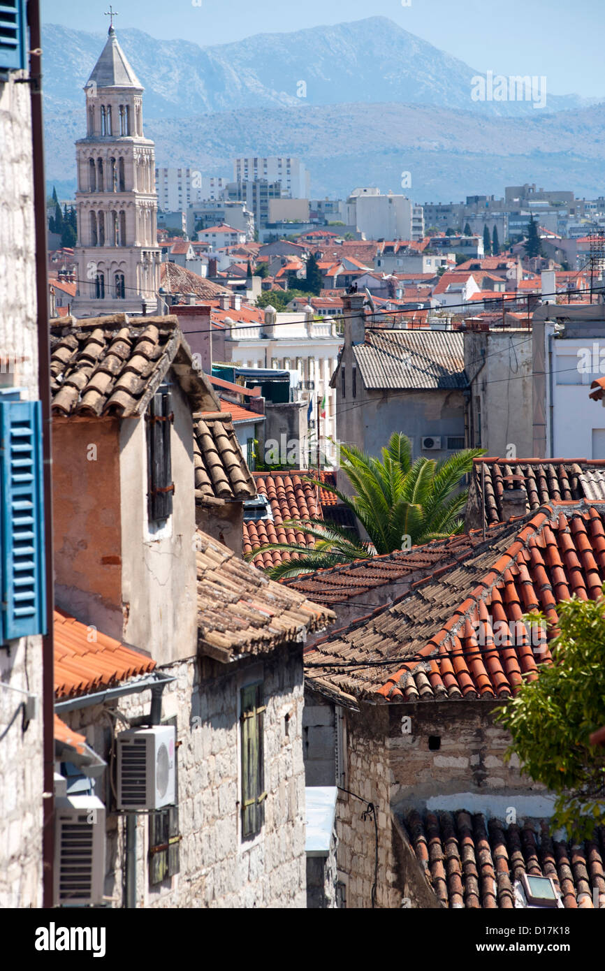 View of rooftops in the city of Split on the Adriatic coast of Croatia. - Stock Image