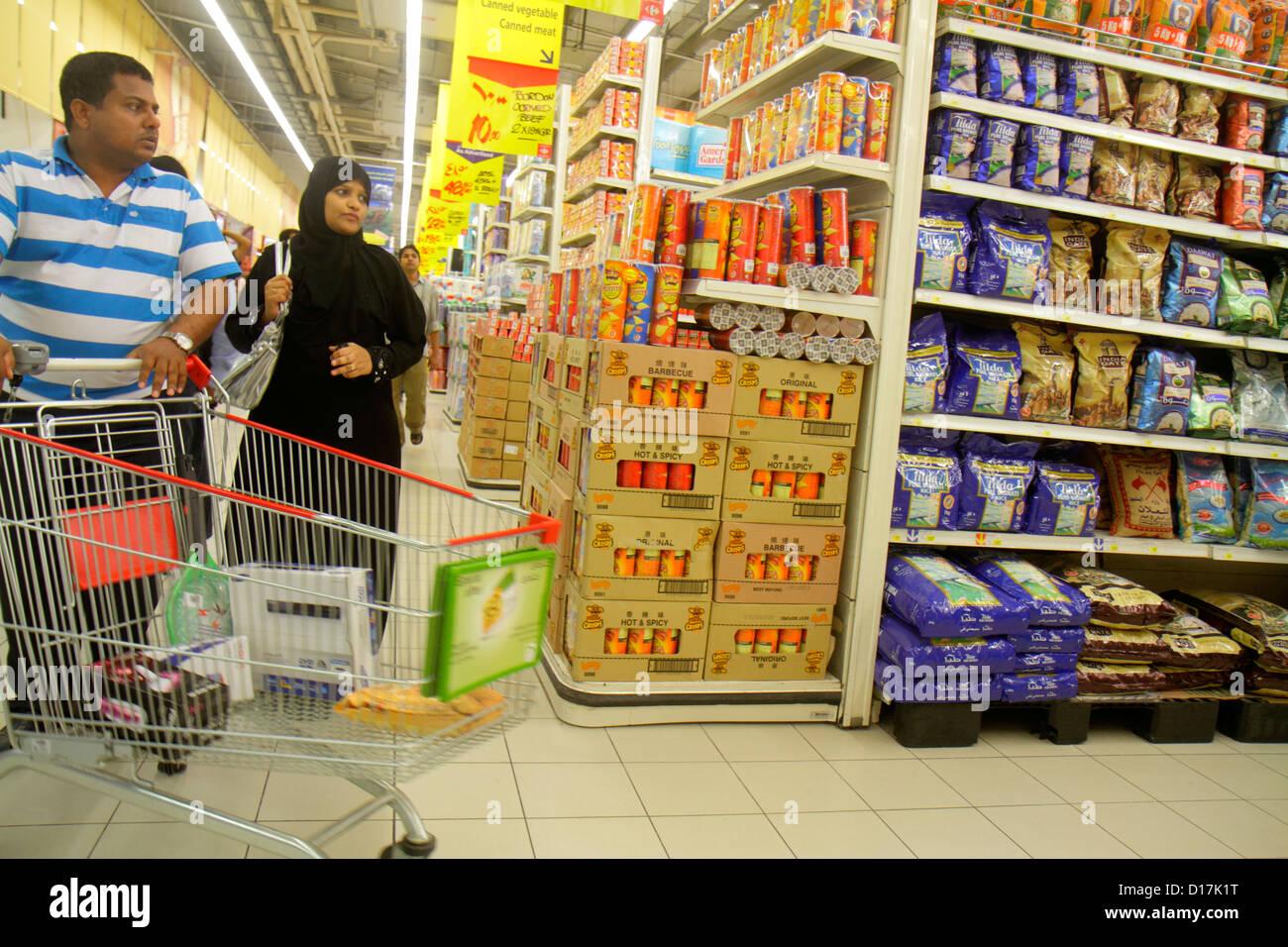Dubai UAE United Arab Emirates U.A.E. Middle East Al Souqe Al Kabeer Carrefour Hyper Market shopping grocery store Stock Photo