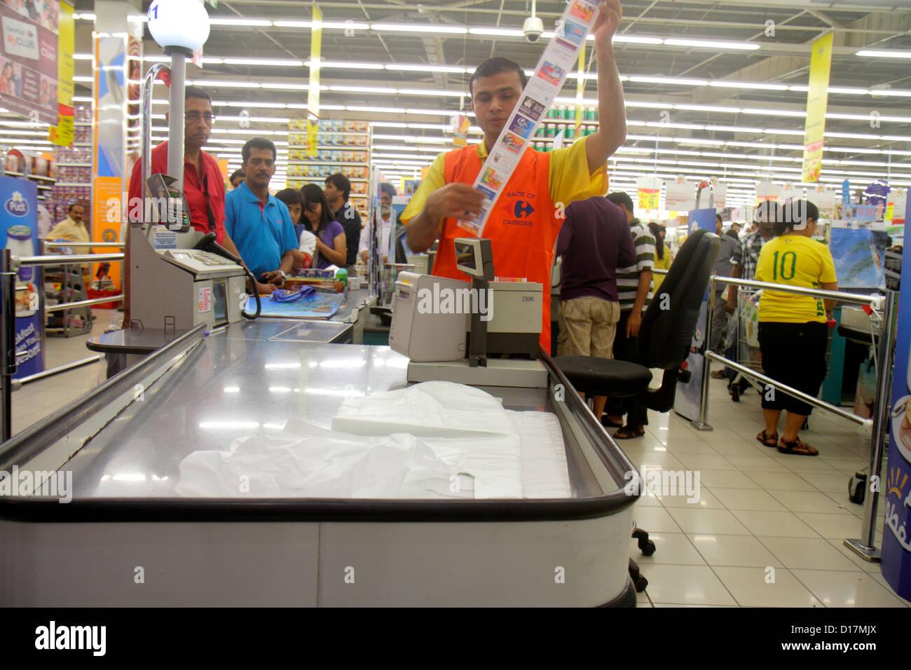 Dubai UAE United Arab Emirates U.A.E. Middle East Al Souqe Al Kabeer Carrefour Hyper Market shopping mega discount Stock Photo
