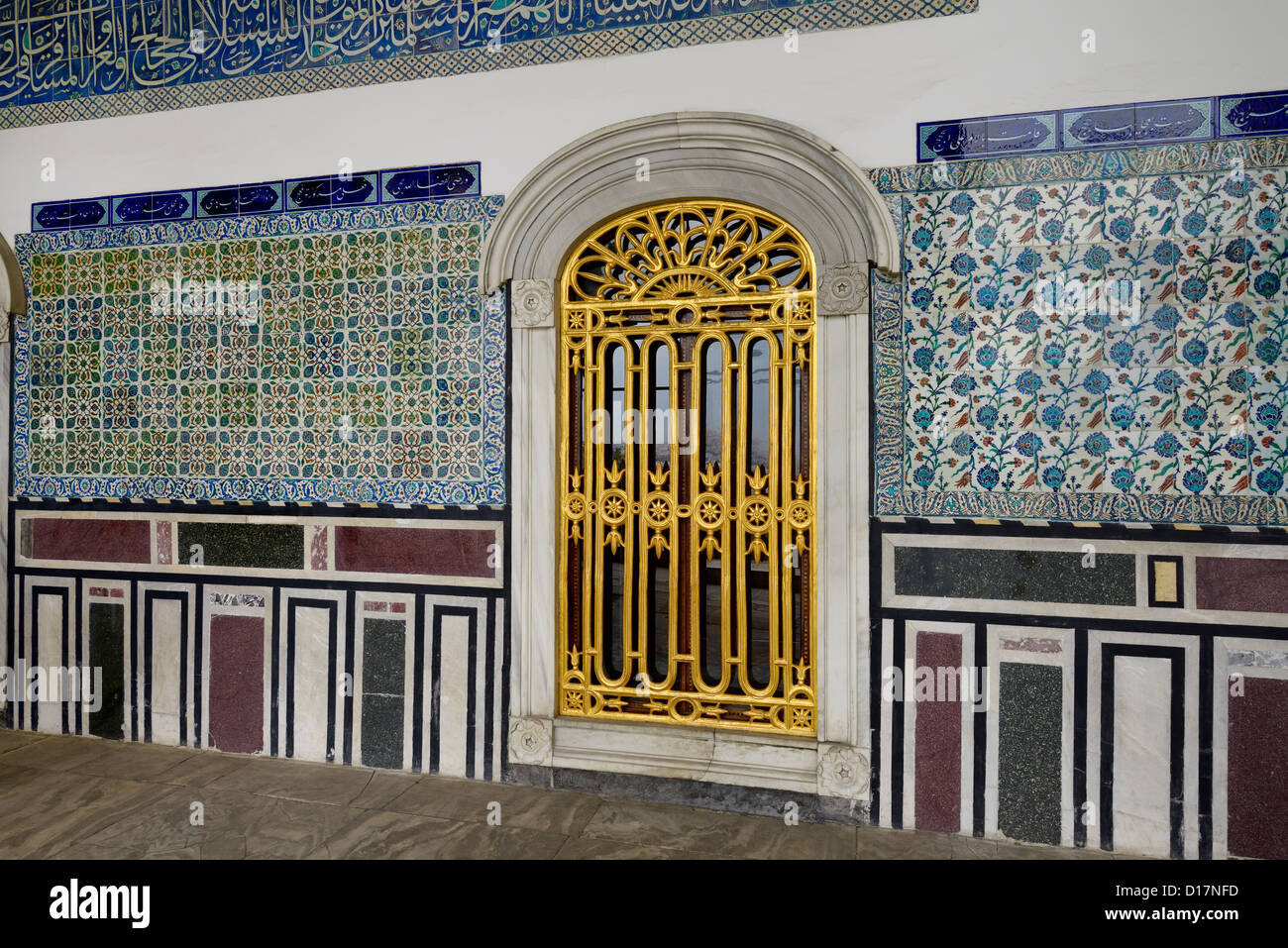 Window and tiles outside the Pavilion of the Blessed Mantle Topkapi Palace Istanbul Turkey - Stock Image