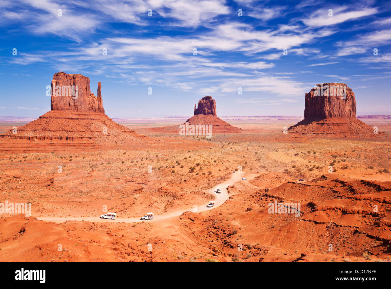 West Mitten Butte, East Mitten Butte and Merrick Butte, The Mittens Jeep Tours Monument Valley Navajo Tribal Park, - Stock Image