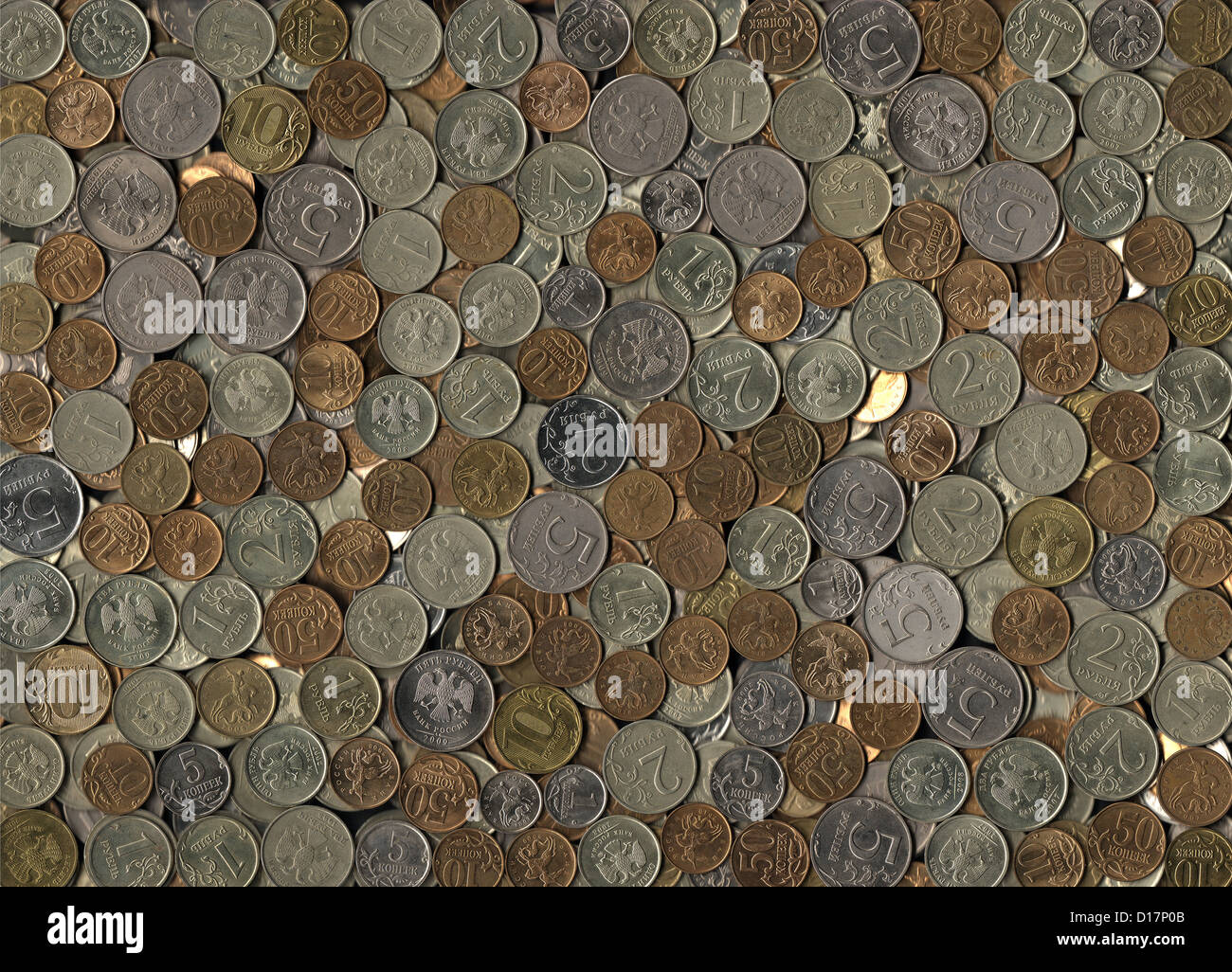 background of miscellaneous Russian coins - Stock Image