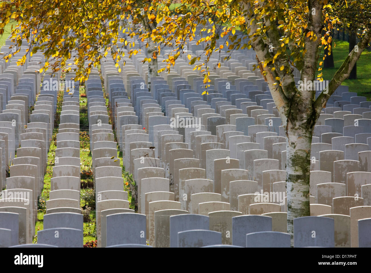 Hooge Crater Cemetery, Commonwealth War Graves Commission burial ground for First World War British soldiers, Zillebeke, - Stock Image