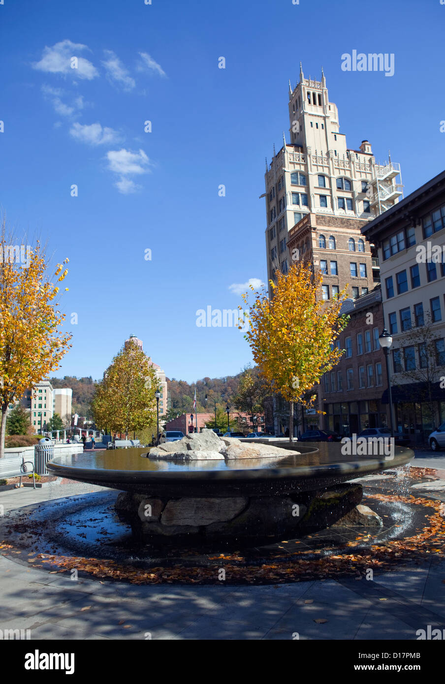 Water Fountain in Downtown Asheville,North Carolina - Stock Image