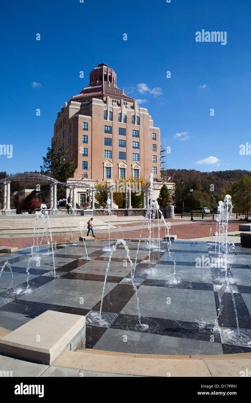 City Square in Downtown Asheville,North Carolina - Stock Image
