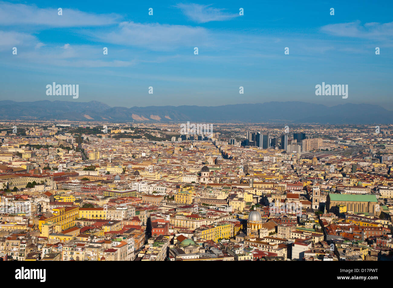 Centro storico and other parts of central Naples seen from Largo San Martino square Vomero district Naples Italy - Stock Image