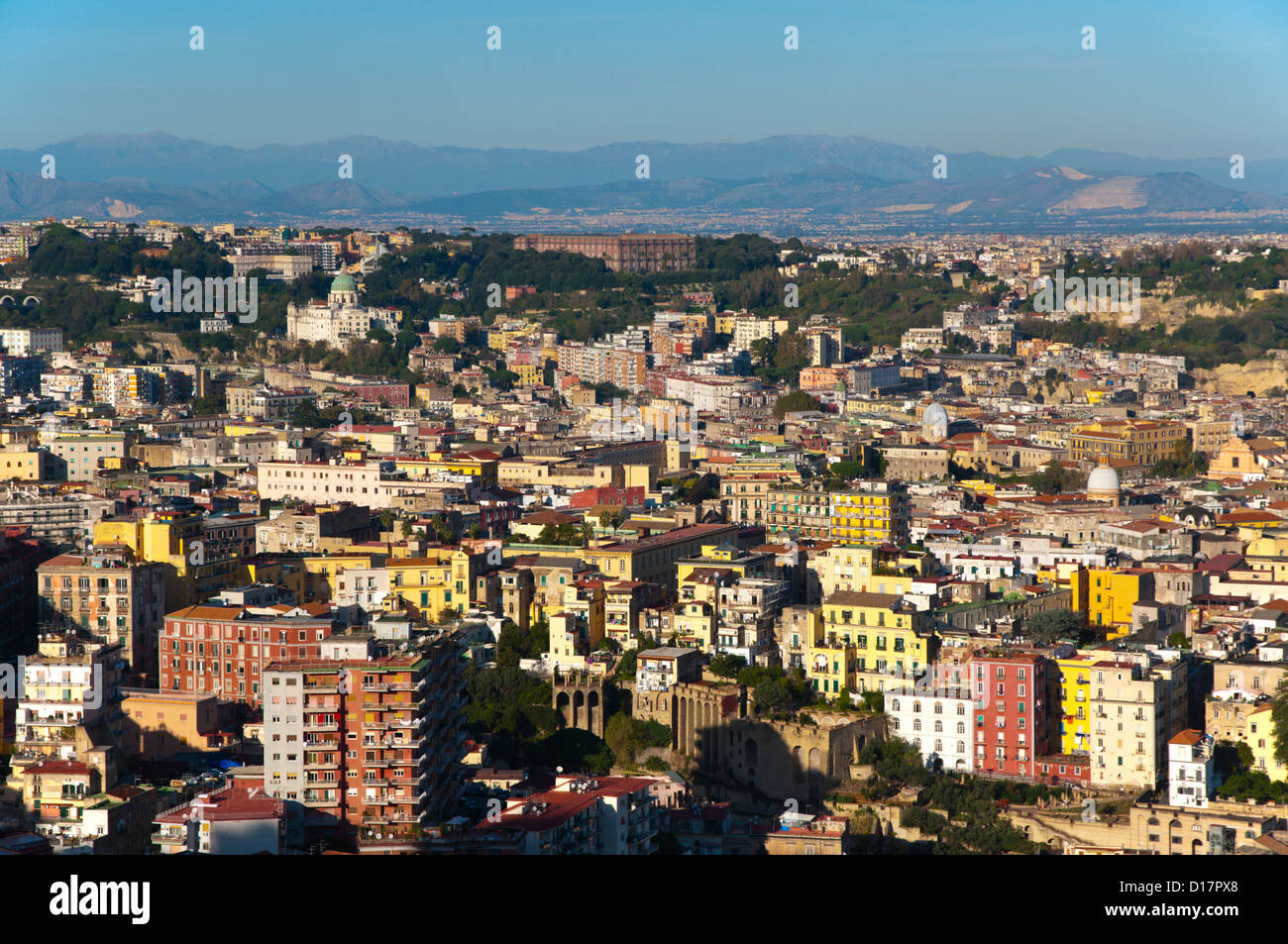 Materdel and other central district with Palazzo Reale di Capodimonte in background, Vomero, Naples, Italy - Stock Image