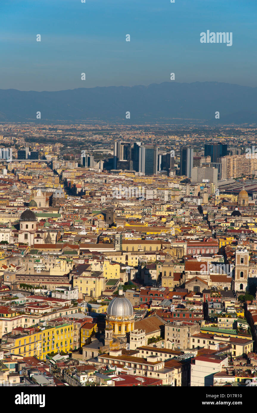 Centro storico and newer business district seen from Largo San Martino square Vomero district Naples Italy Europe - Stock Image