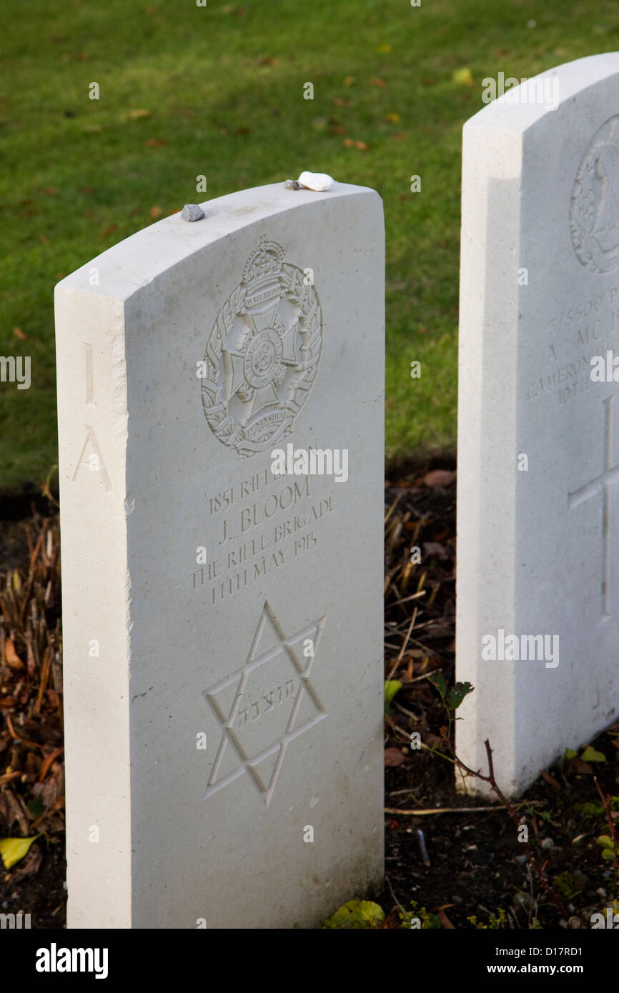 Jewish grave showing Star of David at the Hooge Crater Cemetery for First World War One British soldiers at Zillebeke, - Stock Image