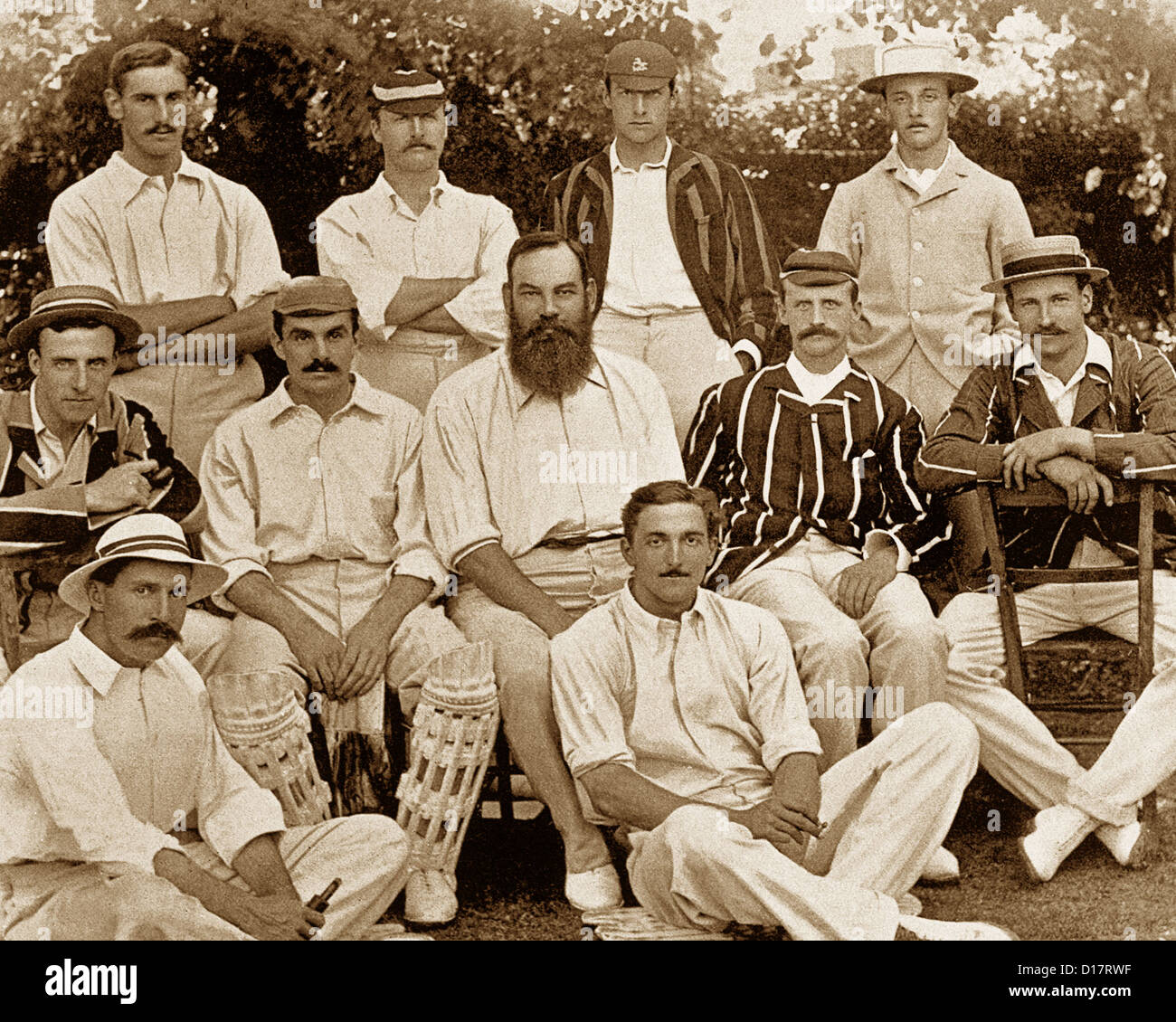 The Gentlemen Cricket Team in 1895 - Stock Image