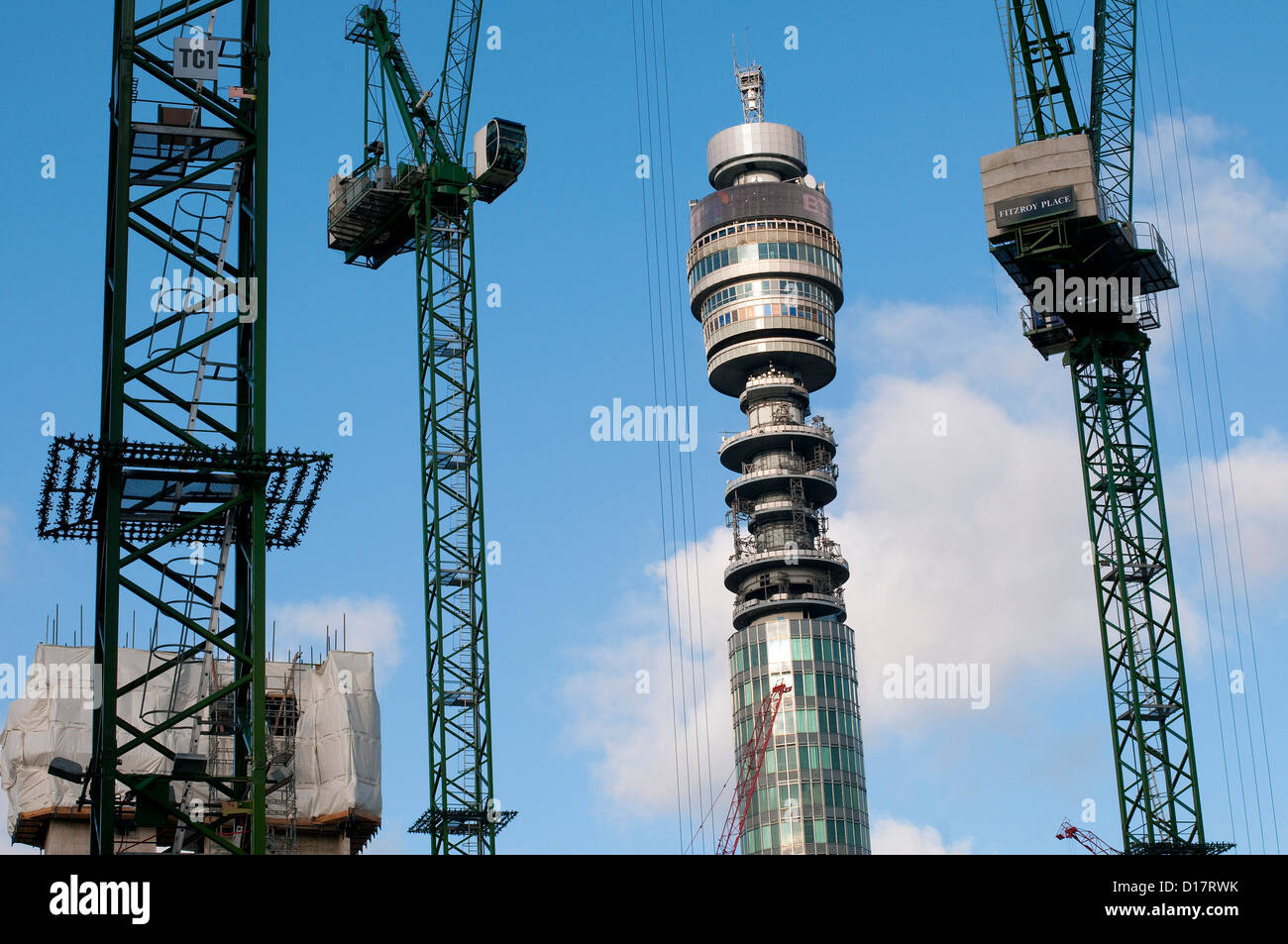 bt tower and cranes, london, england - Stock Image