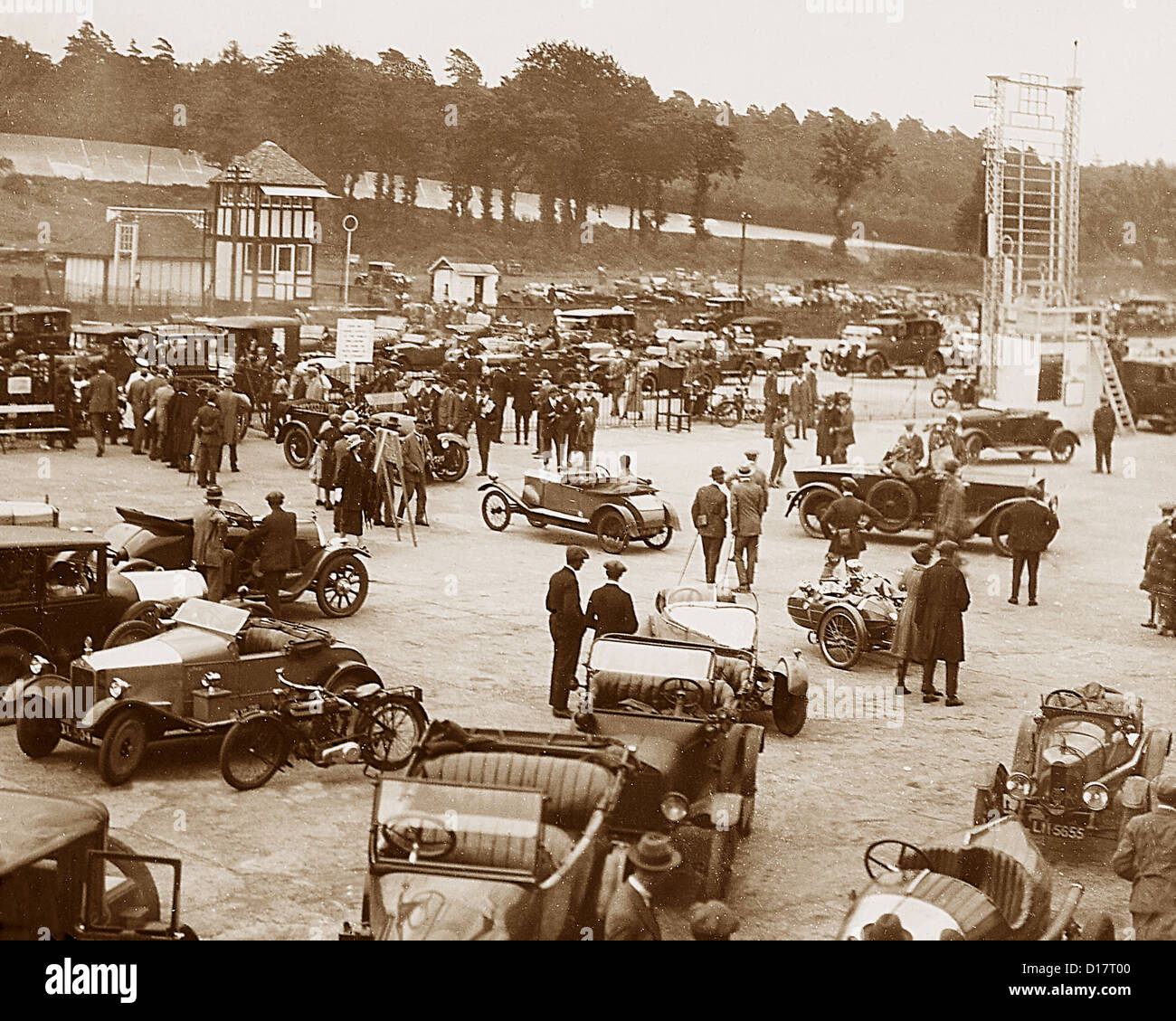 Brooklands Racing Circuit - The Paddock possibly 1930s - Stock Image