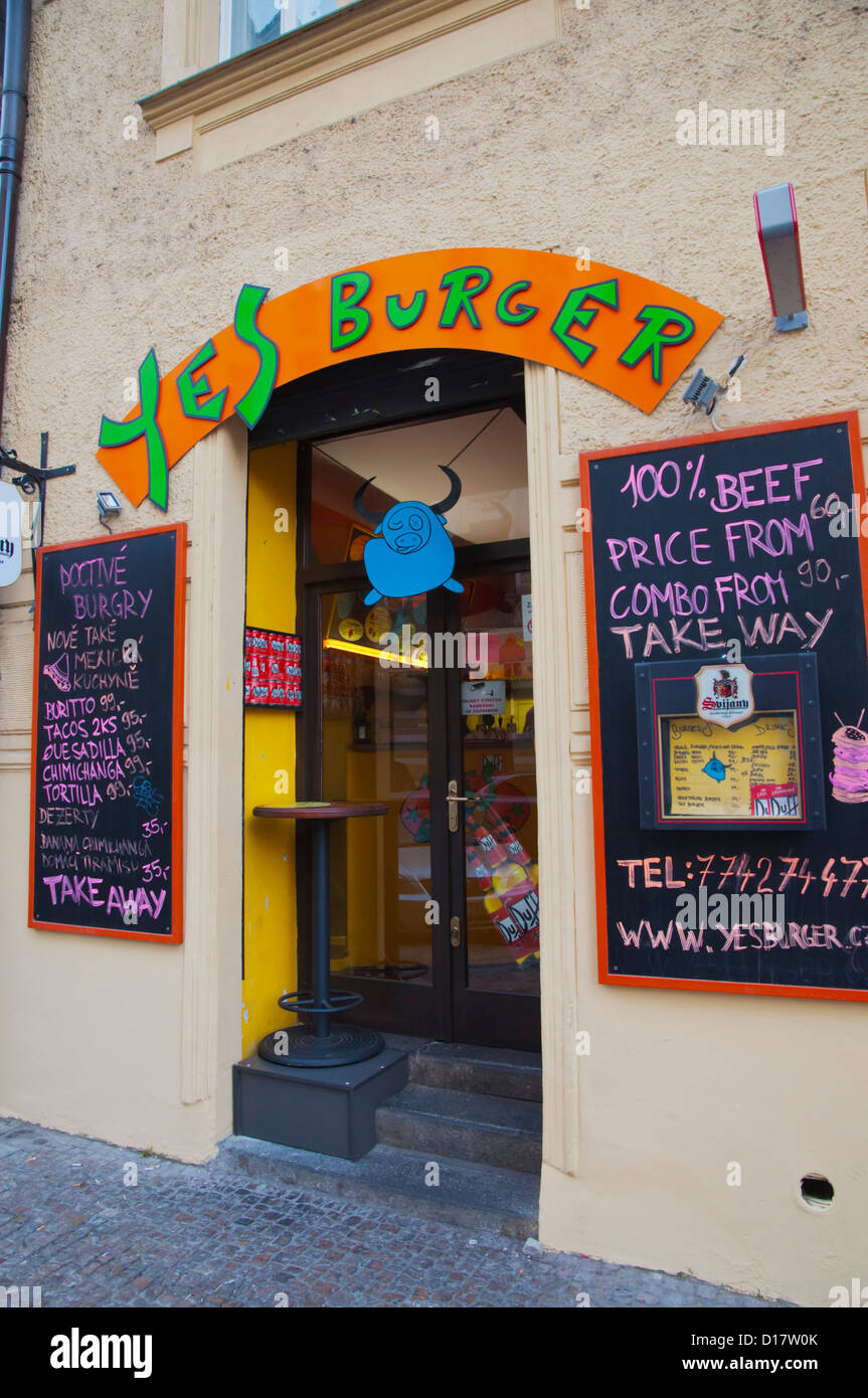 Local Yes Burger fast food chain outlet old town Prague Czech Republic Europe - Stock Image
