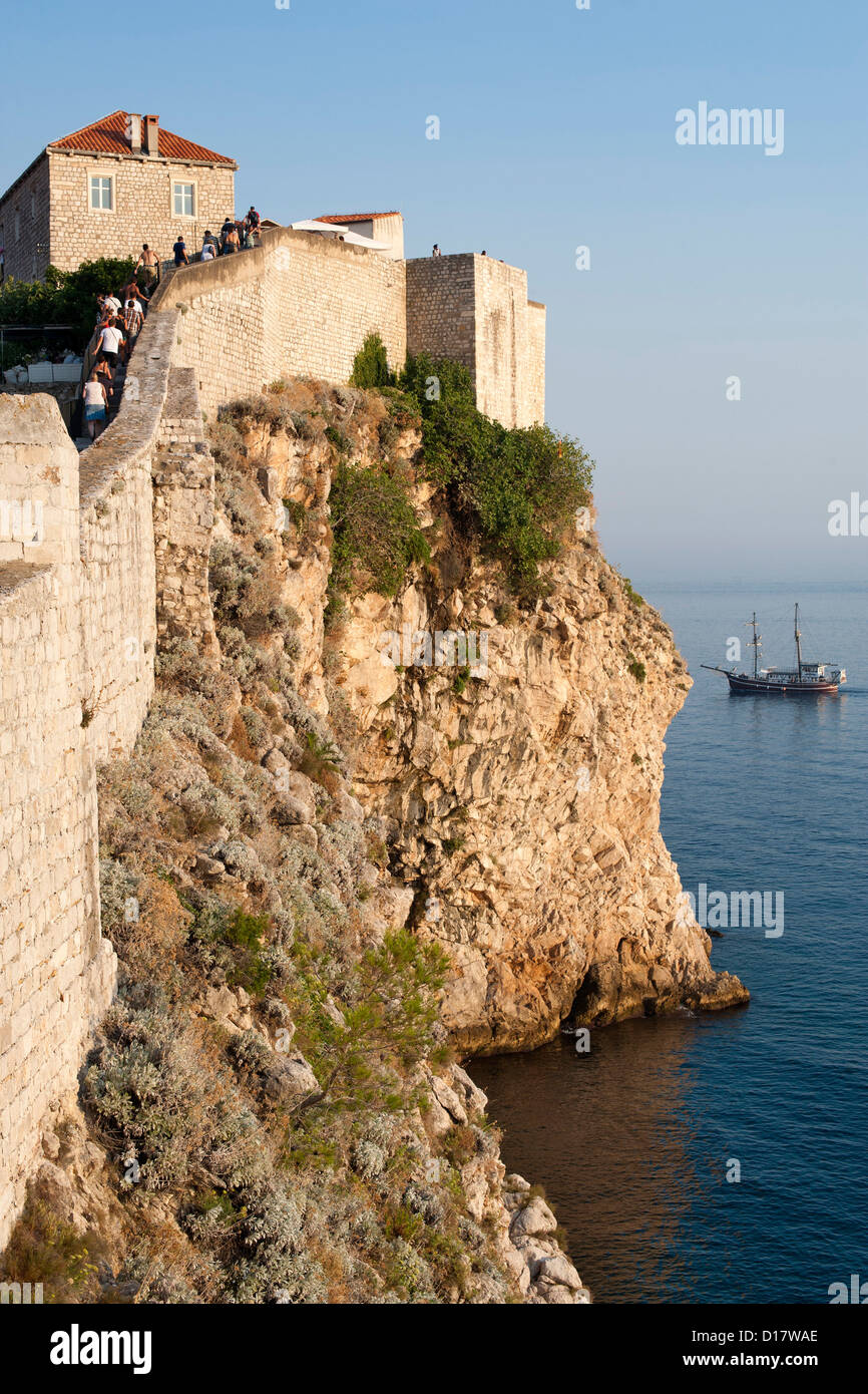 Part of the wall surrounding the old town of Dubrovnik on the Adriatic coast of Croatia. - Stock Image