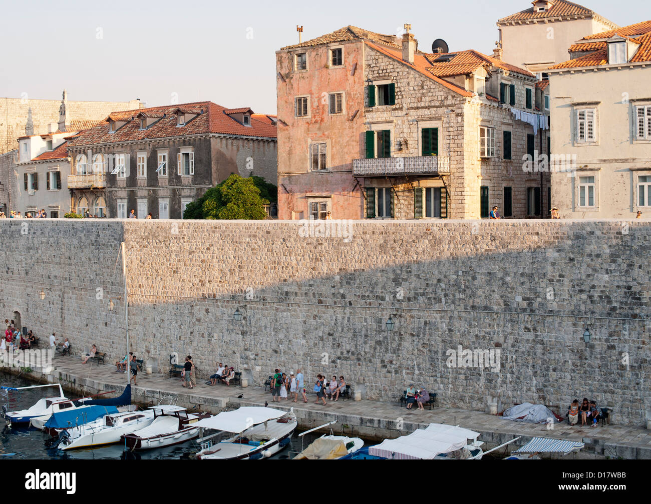 Part of the old harbour and walls of the old town of Dubrovnik on the Adriatic coast of Croatia. - Stock Image