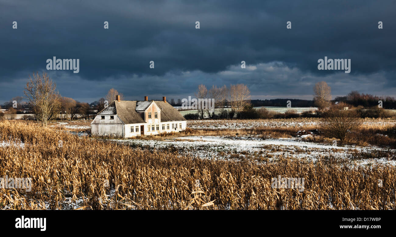 Deserted house on Funen, Denmark - Stock Image