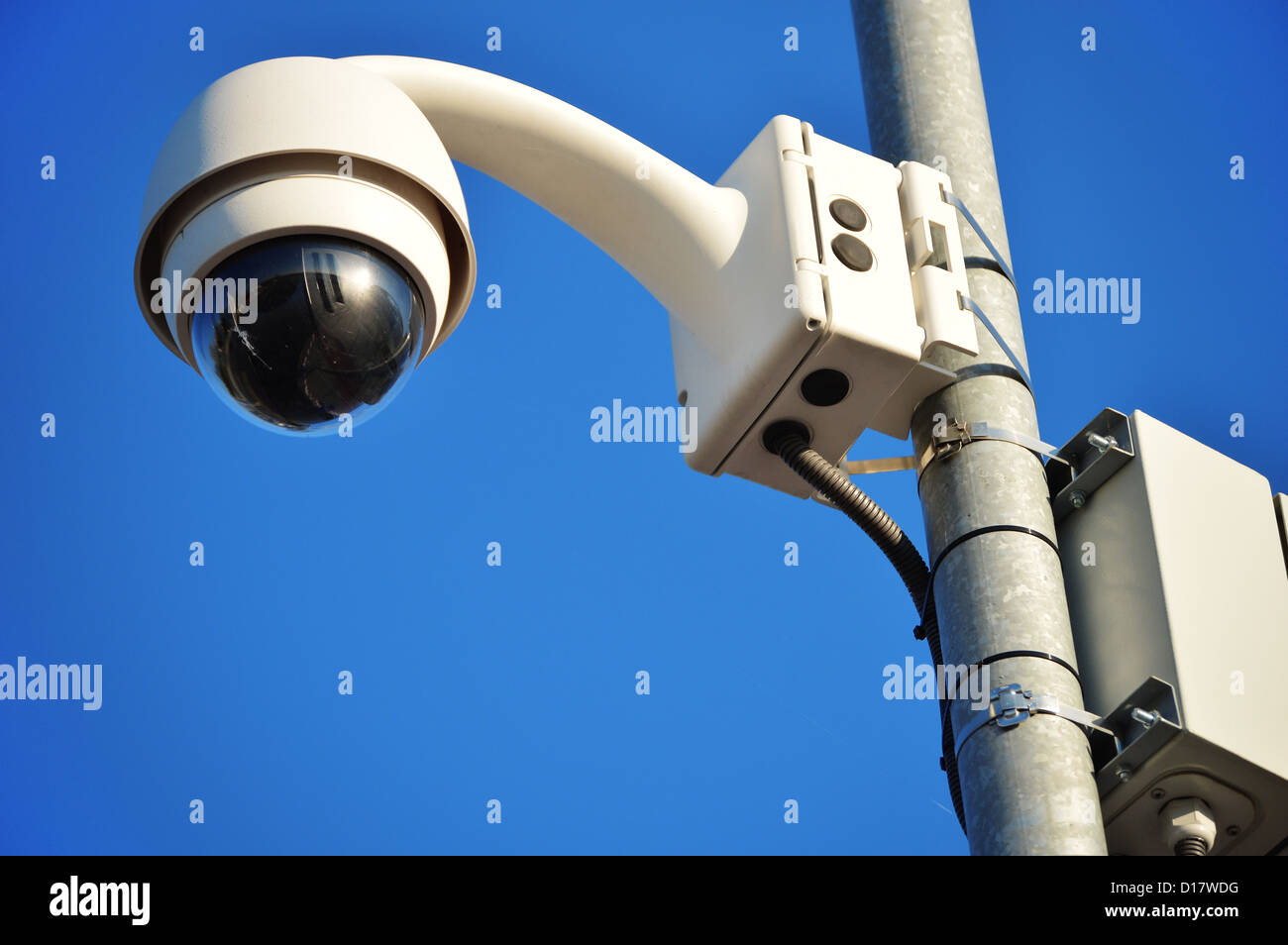 Hi-tech dome type camera over a blue sky - Stock Image