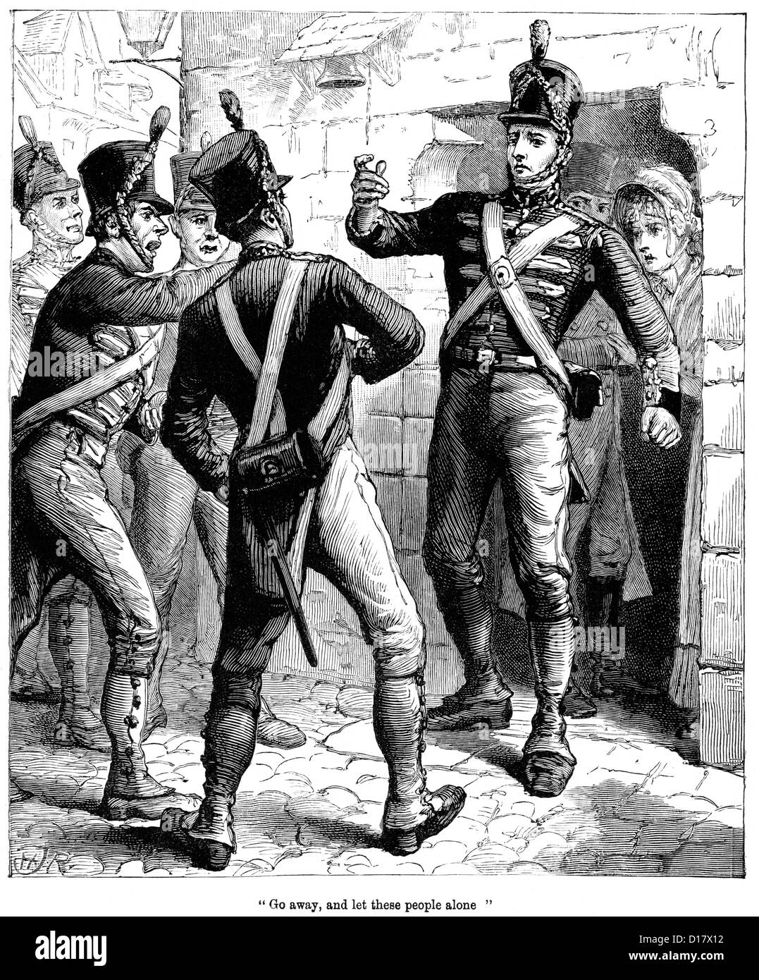 Victorian engraving of a British solider protecting civilians from other rampaging troops during the Siege of San - Stock Image