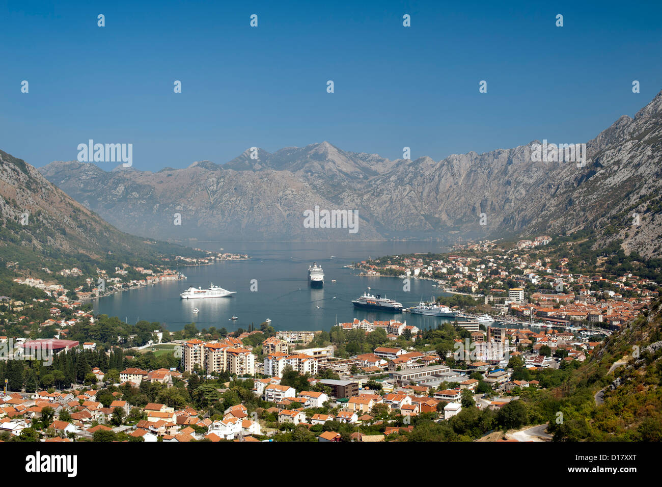 View of Kotor bay and Kotor town in Montenegro. - Stock Image