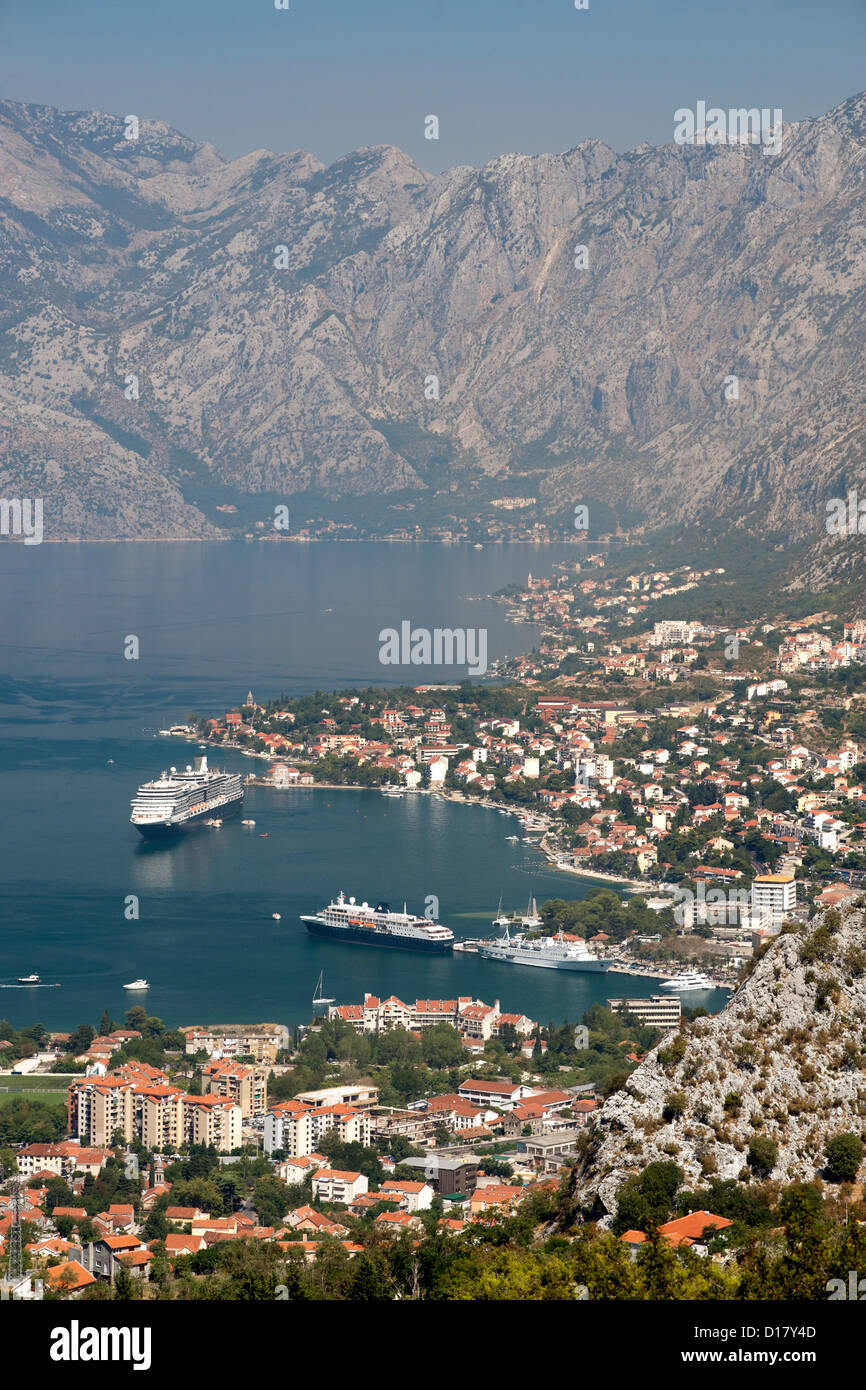 View of Kotor bay and Kotor town in Montenegro. Stock Photo