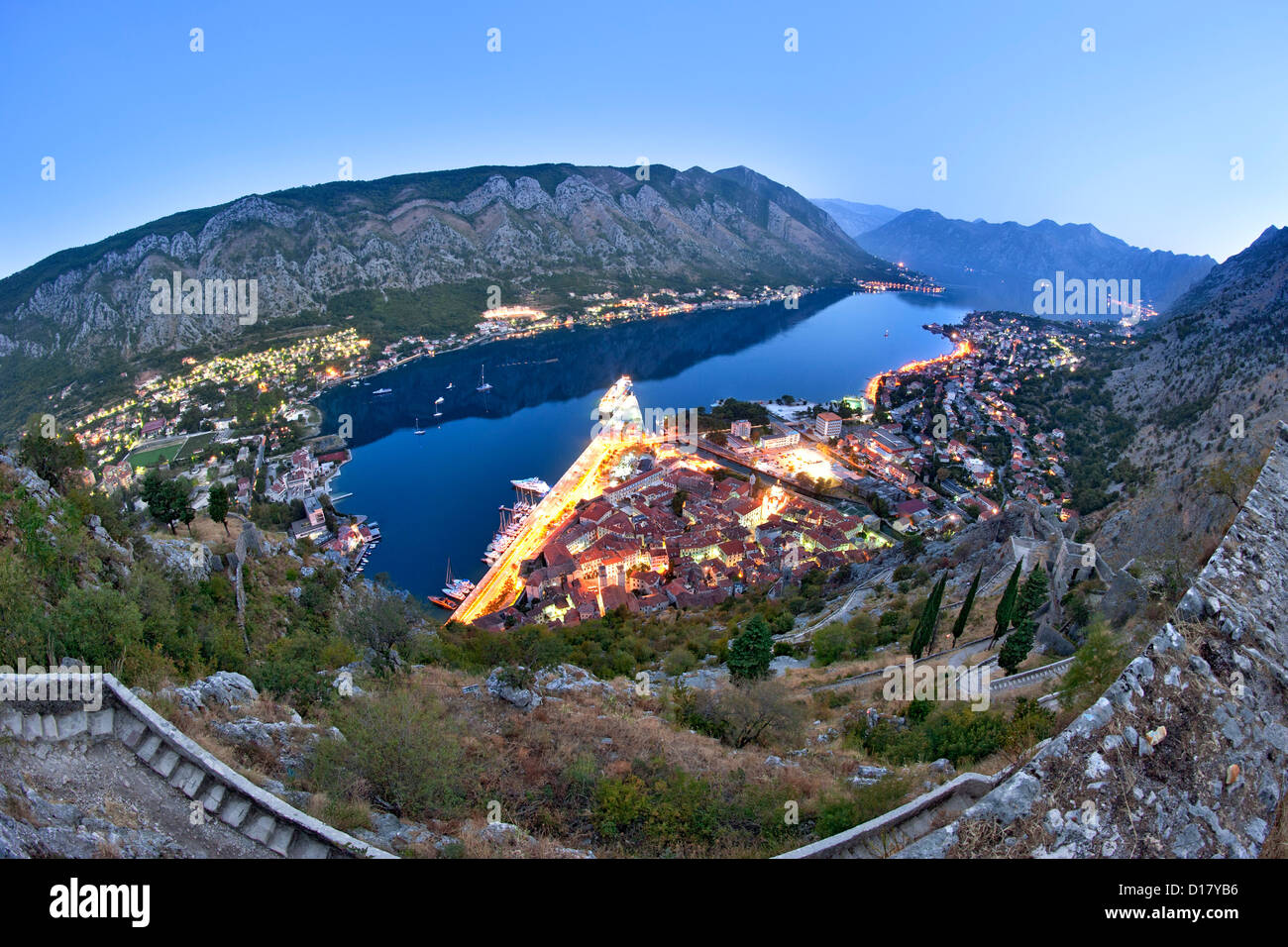 Dawn view of Kotor Bay and Kotor town in Montenegro. Stock Photo