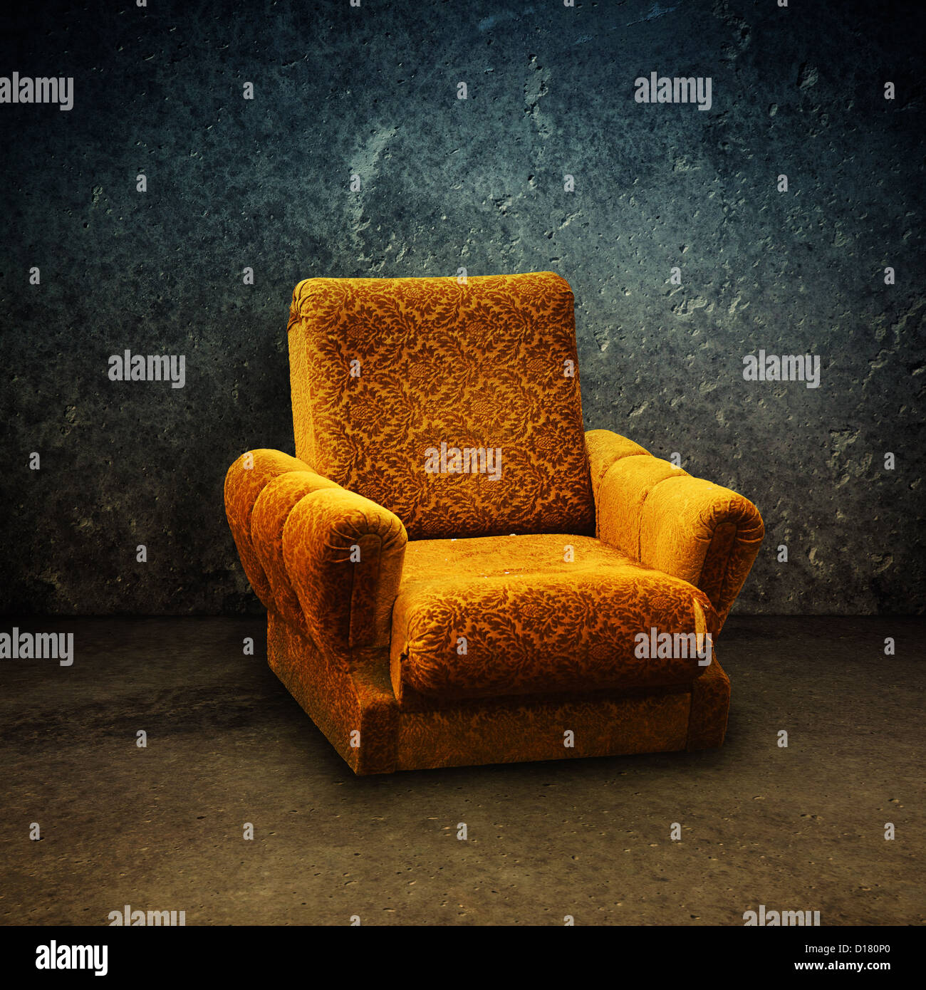 Old yellow armchair in a grungy, dirty interior - Stock Image