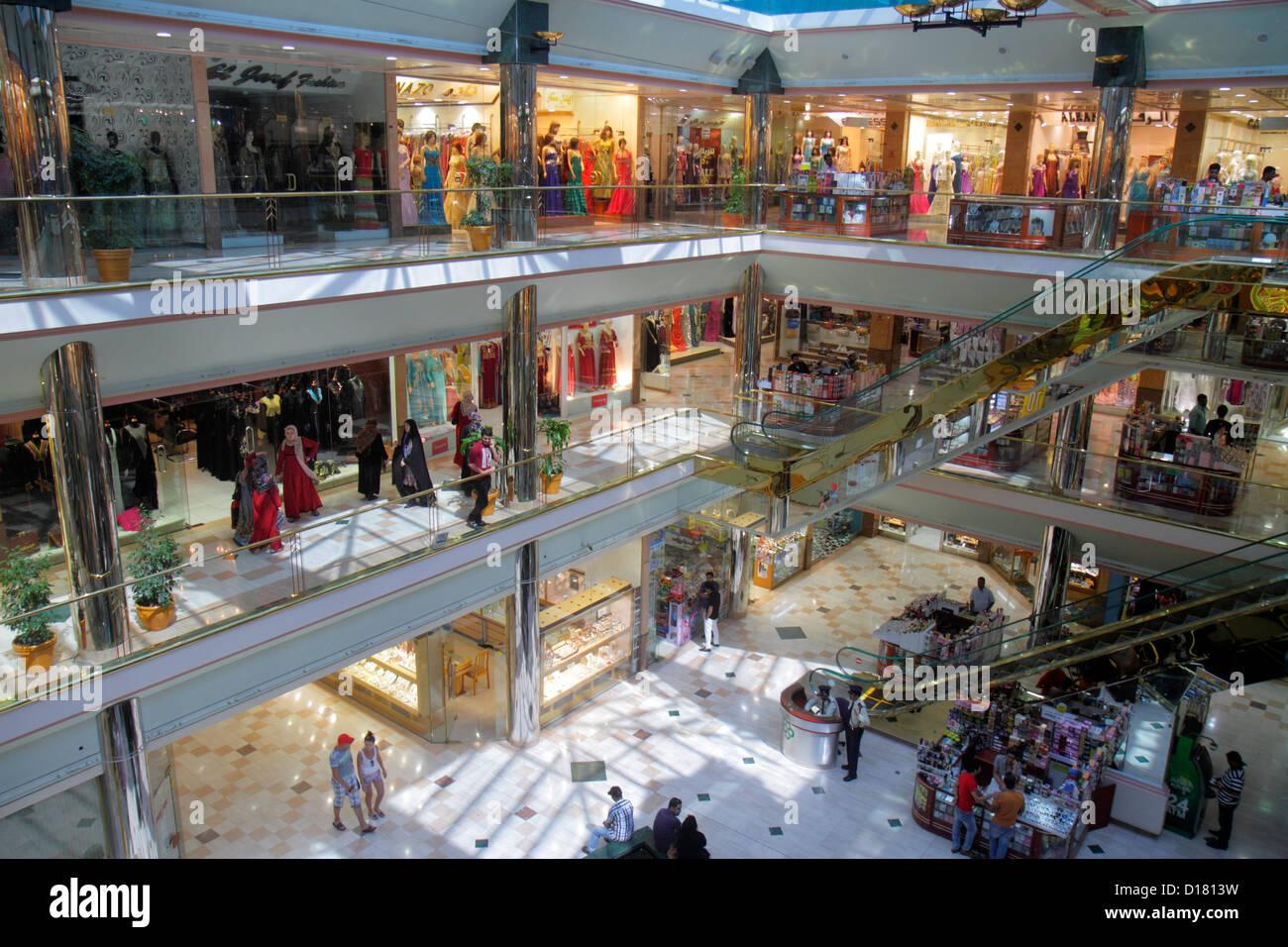 Dubai UAE United Arab Emirates U.A.E. Middle East Deira Murshid Bazar bazaar shopping Naif Souq mall stores levels - Stock Image