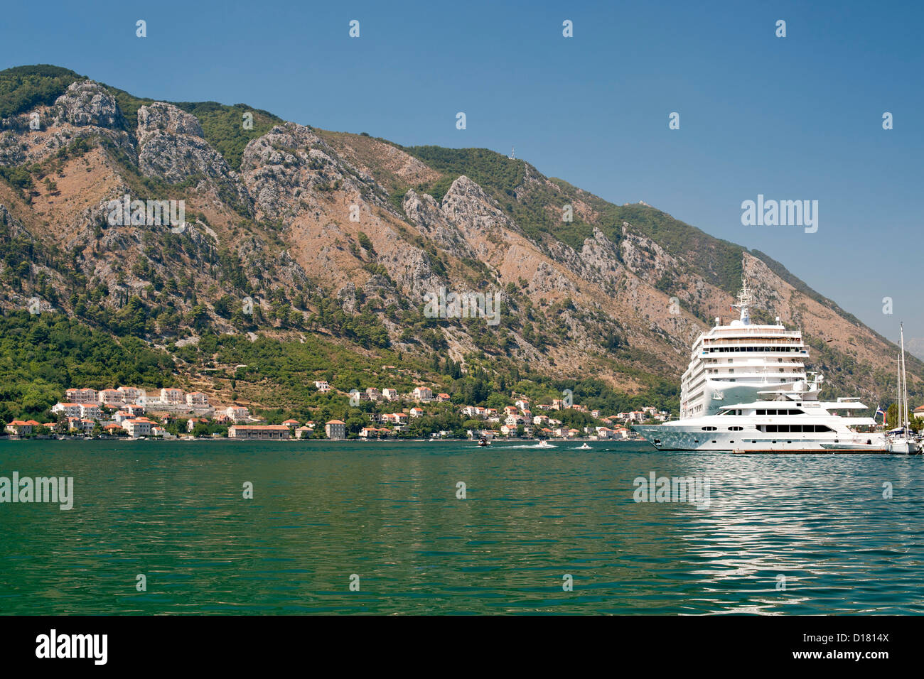 Cruise ship anchored in Kotor Bay in Montenegro. - Stock Image