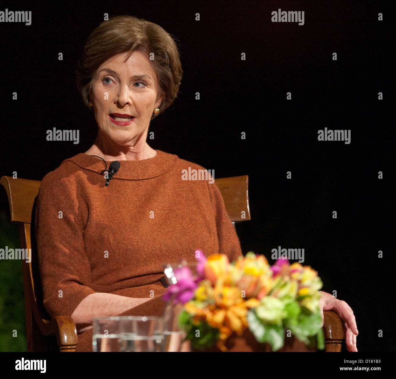 Former First Lady of the United States Laura Bush during conference in Austin, Texas. Wife of George W. Bush Stock Photo