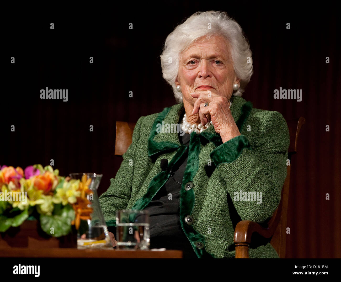 "November 16th, 2012 Austin, Texas USA: Former First Lady Barbara Bush, during ""The Enduring Legacies of America's Stock Photo"