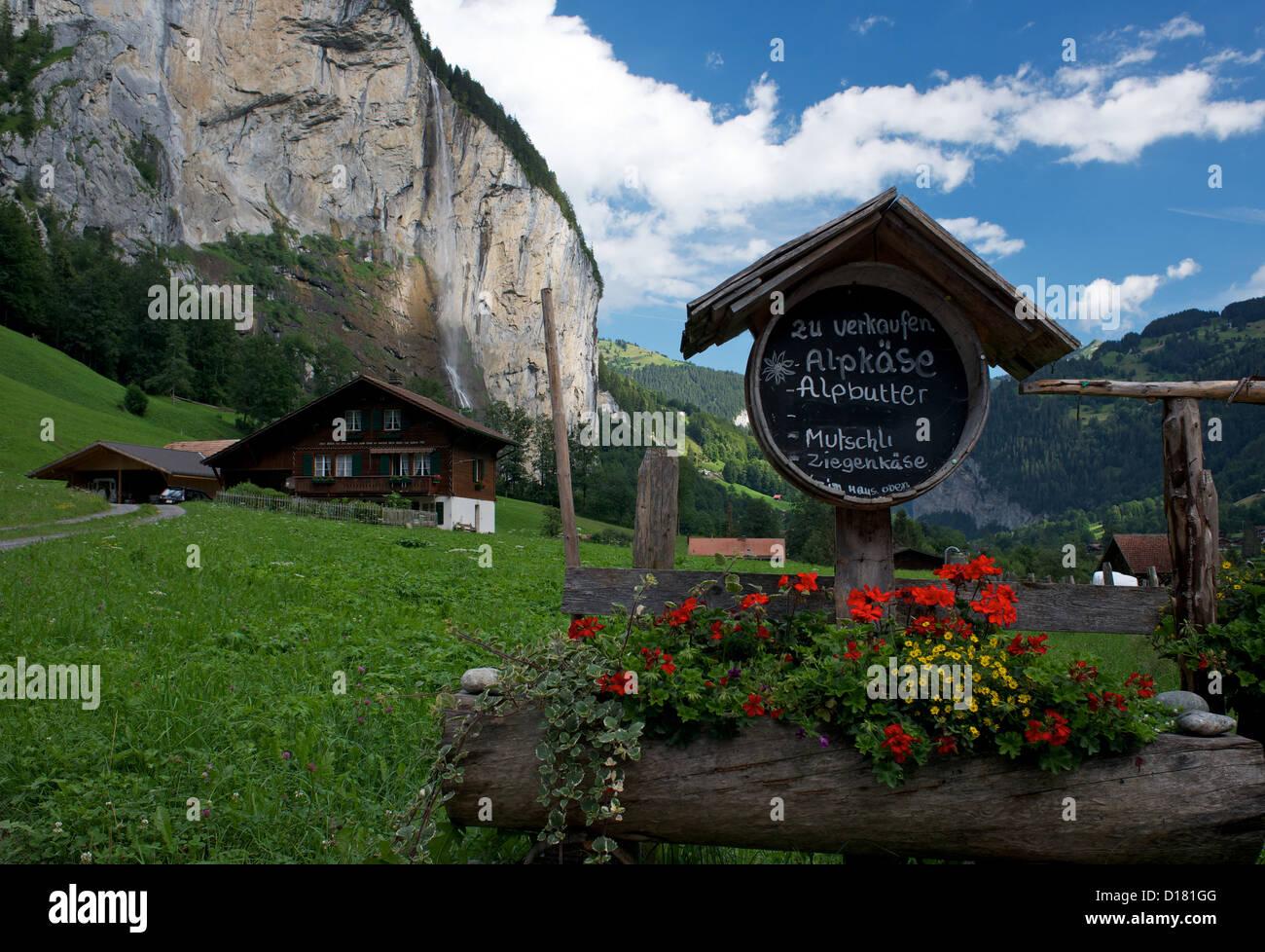 Swiss chalet in Lauterbrunnen Valley Switzerland - Stock Image